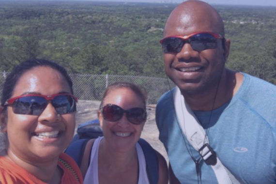 Mike, Suzanne, and Maya talk personality traits as they hike Stone Mountain